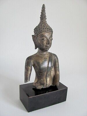 Antique Mounted U Thong Period Bronze Buddha Bust from Thailand