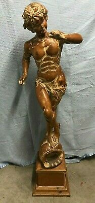 "Full Size Boy Statue ""Satyr"" On Conch Shell W/Fig Leaves & Horn - Hand Carved"
