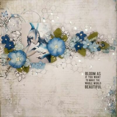 "Handmade Mixed Media 12"" x 12"" Scrapbook Page - Bloom as if......"