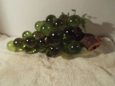 Large Mid Century Vintage Lucite Acrylic Grape Cluster In Green on Driftwood