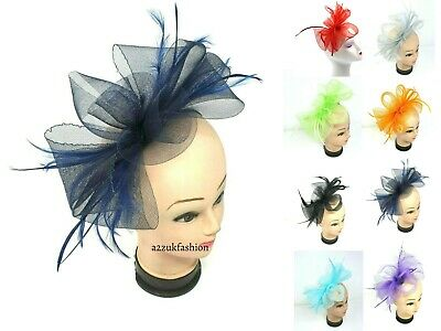 New Ladies Feather Looped Fascinator Headband Alice Band Day Wedding Royal Ascot