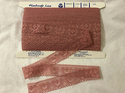 Full Card Of Dusty Pink Polyester Lace Trim. 35mm X 30 Metres