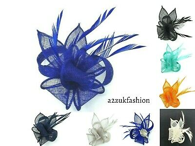Feather Clip Hat Fascinator Brooch Headband Alice Band Wedding Day Royal Ascot