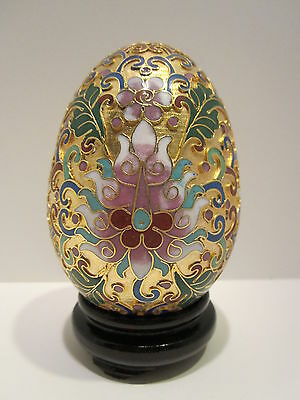 Chinese 3.5''H Cloisonne Handmade Enamel Brass Copper Gold Golden Egg with Stand