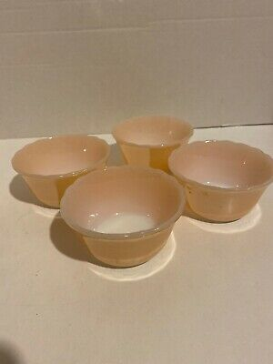 """4-VINTAGE FIRE KING PEACH LUSTER BERRY BOWLS SCALLOPED EDGE 6 OZ  3.5"""" Across"""