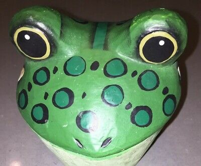 "Wooden Frog Trinket Box, Hand Crafted and Painted Hinged 4"" x 4"" Green"