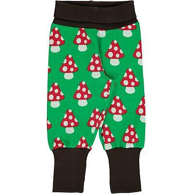 Maxomorra Classic Green Mushroom Rib Pants Organic Cotton Trousers Scandi