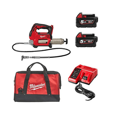 Milwaukee M18GG-502X M18GG 18v Grease Gun Kit 2 M18B5 Batteries Charger and Bag