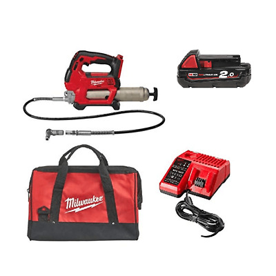 Milwaukee M18GG-201B 18v Grease Gun Kit With 1 2.0Ah Battery Charger & Bag
