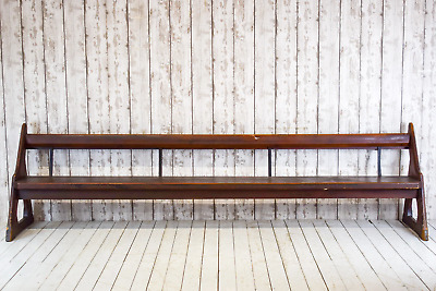 Vintage Antique Pine Bench Church Pew Industrial Cafe Bar