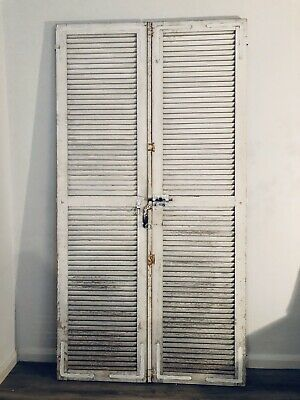 Tall Vintage Antique French wooden shutters doors antique - original paint