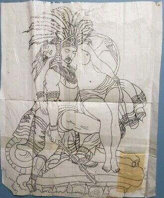 tattooed cholo hispanic mexican aztec pinup prison art big drawing sketch 12x15