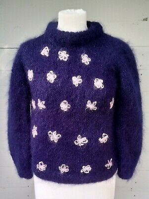 Cute Vintage Mohair Boxy Hand Knit Jumper,Ink Blue/Pink Flower Embroidery. Small