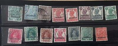 Nice collection  of 15 diff Indian stamps O/P Kuwait & Bahrain issued in 1933-44