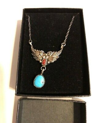 Sterling Silver Stamped Turquoise Coral Dangle Feather Pendant