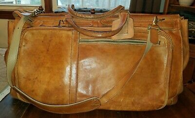 Vtg Rugged Tan Leather Duffle Carry-On Weekender Bag Luggage w/ Shoulder Strap