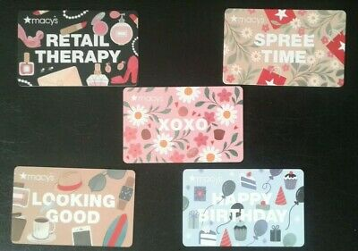 Five (5) Macy's Gift Cards 2020, XOXO, Birthday, Spree, Looking, Therapy, NEW