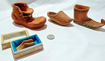 Vintage Miniature Hand Carved Wooden Shoe Collection 4 pc. (Box with 2 mine foot