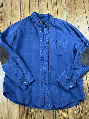 Mens J.Crew Shirt Blue/brown Elbow Patch Cotton Long Sleeve Button Down Sz Large