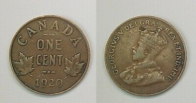 1920 Canadian Canada Small Cent Very Good - Fine VG - F