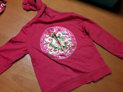 reversible two sides 7/8 years girl Desigual coat vest pink flowers