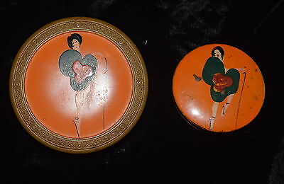 TI-006 - 1920's ART DECO FLAPPER GIRL Powder Tin and Rouge Pot Hand Painted vtg