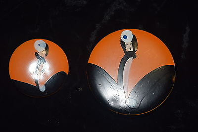 TI-007 - 1920's ART DECO FLAPPER GIRL Powder Tin and Rouge Pot Hand Painted vtg