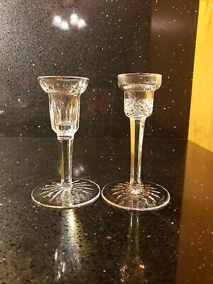 Waterford Irish Cut Crystal Mismatched Pair Of Tall Footed Taper Candle Holders