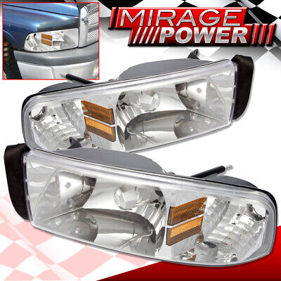 For 1994-2001 Dodge Ram 1500 Chrome Housing Amber Reflector Headlight Pair L+R