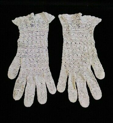19th Century Antique Lace Gloves Hand Crochet Ivory