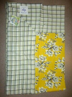 "APRIL CORNELL TABLECLOTH GOLDENROD FLORAL & PLAID 60"" x 90"" NEW!"