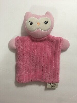 Chick Pea Lovey Security Plush Blanket Owl Pink Black Orange About  9 x 6 Soft