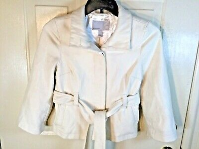 Old Navy Womans Sz XS Off White Cream Coat Jacket Button Up Tie Waist 60% Wool