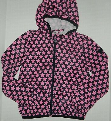GAP KIDS girls Pink Navy STAR PRINT Hooded Windbreaker Jacket* L 10  Never Worn