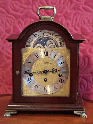 Vintage German 'Hermle' 8-Day Bracket Clock with Westminster Chimes & Moon Phase