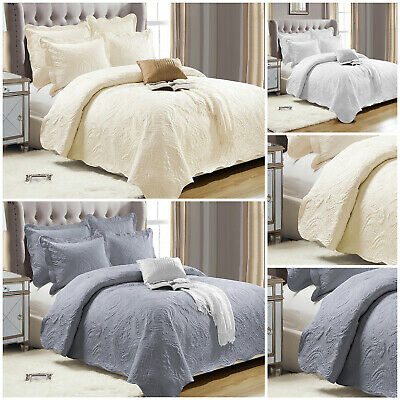 3 Piece Quilted Cotton Bedspread Bed Throw Single Double King Size Bedding Set