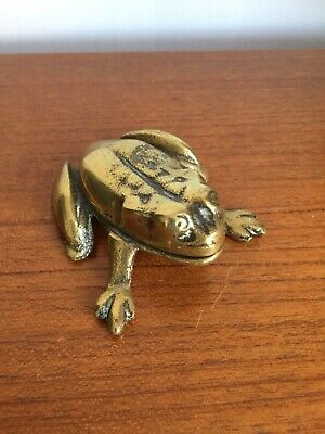 Vintage Solid Brass Frog Ashtray with Hinged lid