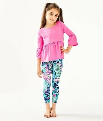 NWT Lilly Pulitzer Girls Maia Leggings In Multi Lookin Sharp Size M
