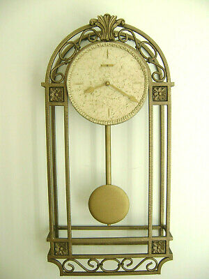 Howard Miller Pendulum Wall Clock 625-298 Salina Wrought Iron Gold tone Quartz