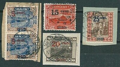 Saar Germany Saargebiet Lot Of 5 Stamps On Fragments With Ovpt -Cag 140120