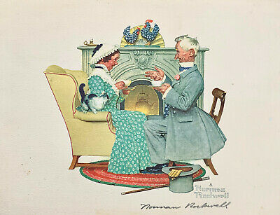 """Norman Rockwell Hand Signed 11 X 14"""" Color - Print - Pa & Ma & Cat"""