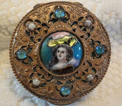 Ornate Jeweled Filigree French Foil Enamel Limoges Portrait Box Compact #2