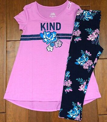 NWT JUSTICE Girls 8 10 12 Sparkle Swingy Tee & Navy Floral Crop Leggings Outfit