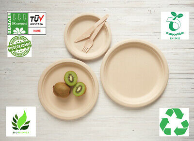 HOME COMPOSTABLE Large Plates 10'' (26cm) Made From Wheat Fibre Pulp x 50 Pack
