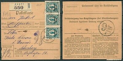 GERMANY 1920 PARCEL RECEIPT CARD ZANDT TO NURNBERG STAMPS w. OVPT -CAG 080519