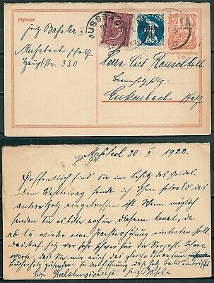 Germany 1922 Uprated Stationery Aussbach Pmk Stamps With Ovpt -Cag 080519