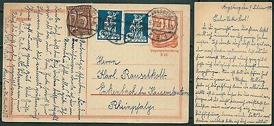 Germany 1922 Uprated Stationery Augsburg Pmk Stamps With Ovpt -Cag 080519