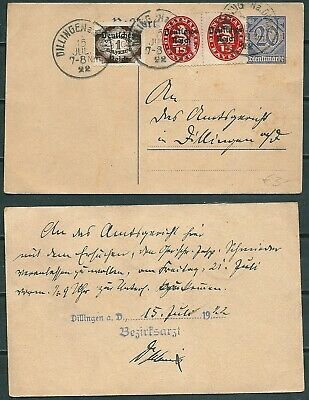Germany 1922 Uprated Stationery Card Dillingen Pmk Stamps With Ovpt -Cag 080519