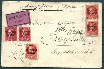 Germany Bayern 1918? Express Railpost Cover To Bayreuth, Ovpt Stamps -Cag 080519