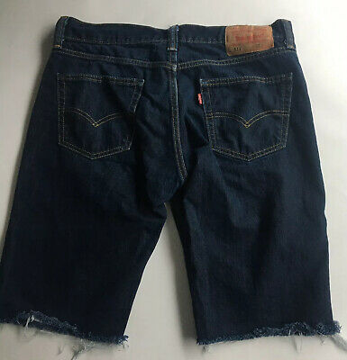 Levis 511 Skinny Jean Shorts Mens Size 33 100% Cotton Blue Casual Cut Of Style